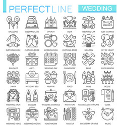 Wedding outline concept symbols perfect thin line vector