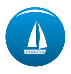 Yacht travel icon blue vector