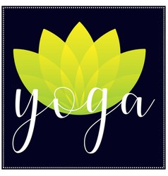 yoga t shirt design with yoga text and lotus flowe vector image