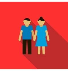 Young couple icon flat style vector