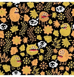 Cute monsters texture with yellow leaves vector image