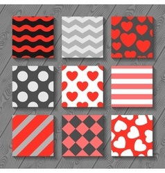 Happy valentines day set of seamless patterns on vector image vector image
