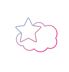 line cute cloud and star weather design icon vector image vector image