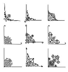 Set of 9 decorative corners vector image vector image