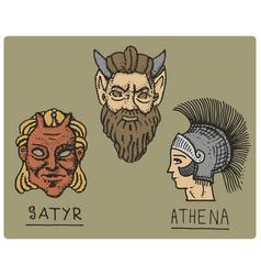 ancient greece antique symbols athena profile vector image