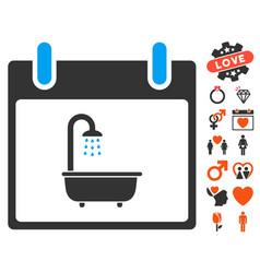 bath calendar day icon with valentine bonus vector image vector image