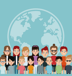 cartoon community world people society vector image