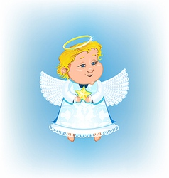 Cute angel with Christmas star vector image vector image