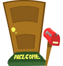door and a mailbox vector image vector image