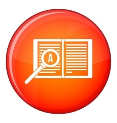 Magnifying glass over open book icon flat style vector