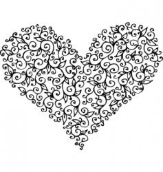 romantic heart vignette vector image