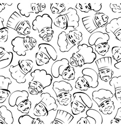 Seamless chefs and bakers in uniform hats pattern vector image
