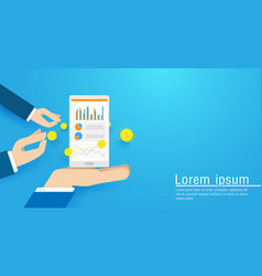 business hand holding smart phone vector image