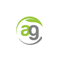 creative letter ag with circle green leaf logo vector image vector image