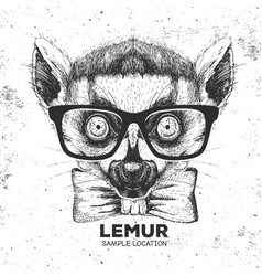 hipster animal lemur hand drawing muzzle of vector image vector image