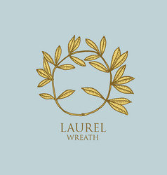 logo of ancient greece antique symbol laurel vector image
