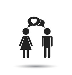Man and woman with heart icon on white background vector