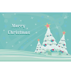 christmas trees in blue vector image vector image