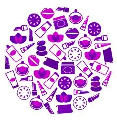 purple cosmetics icons vector image vector image