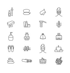 sauna signs black thin line icon set vector image vector image