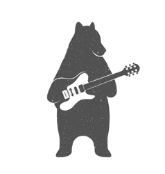 Vintage of Funny Bear with Guitar vector image vector image