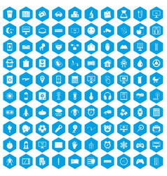 100 app icons set blue vector image