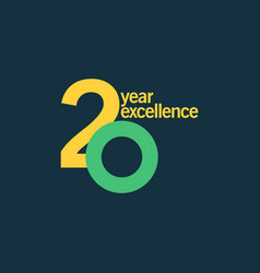 20 year excellence template design vector