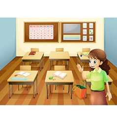 A teacher inside the classroom vector image