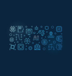 ai artificial intelligence blue line banner vector image