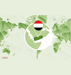 America centric world map with magnified yemen map vector