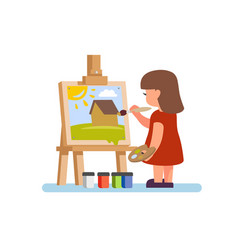 artist girl painting vector image