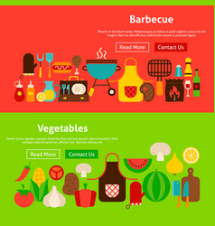 Barbecue vegetables website banners vector