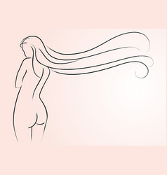 beautiful long hair vector image
