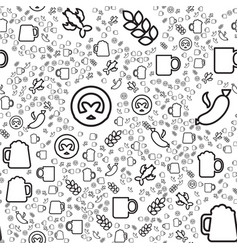 beer and snacks linear seamless pattern vector image