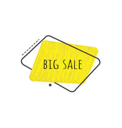 big sale sign on yellow grunge geometric graphic vector image