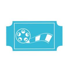 blue cinema ticket reel strip movie vector image