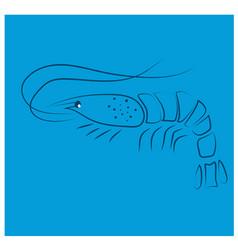 Blue lobster flat design vector