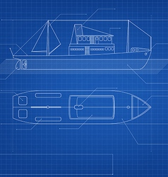 Blueprint ship vector