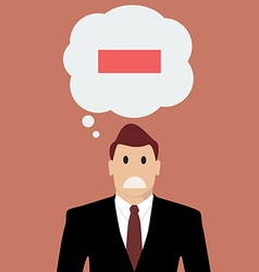 Businessman with negative thinking vector