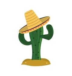 cactus and sombrero icon vector image
