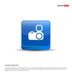 camera icon - 3d blue button vector image