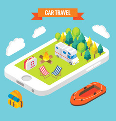 car travel isometric objects on mobile phone vector image