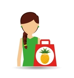 cartoon girl shopping pineapple fruit icon vector image vector image