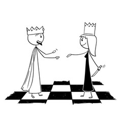 Cartoon metaphor chess white king welcoming vector