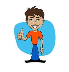 Cartoon of happy man giving thumb up vector image