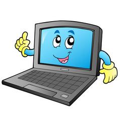 cartoon smiling laptop vector image