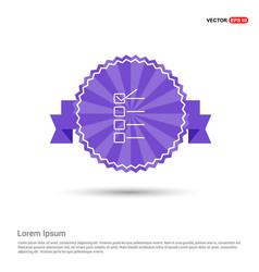 check list ok icon - purple ribbon banner vector image