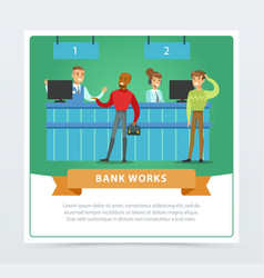 clients and managers at the bank office bank vector image