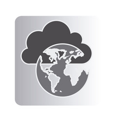 Cloud data global network icon vector