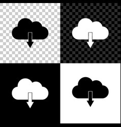 cloud download icon isolated on black white and vector image